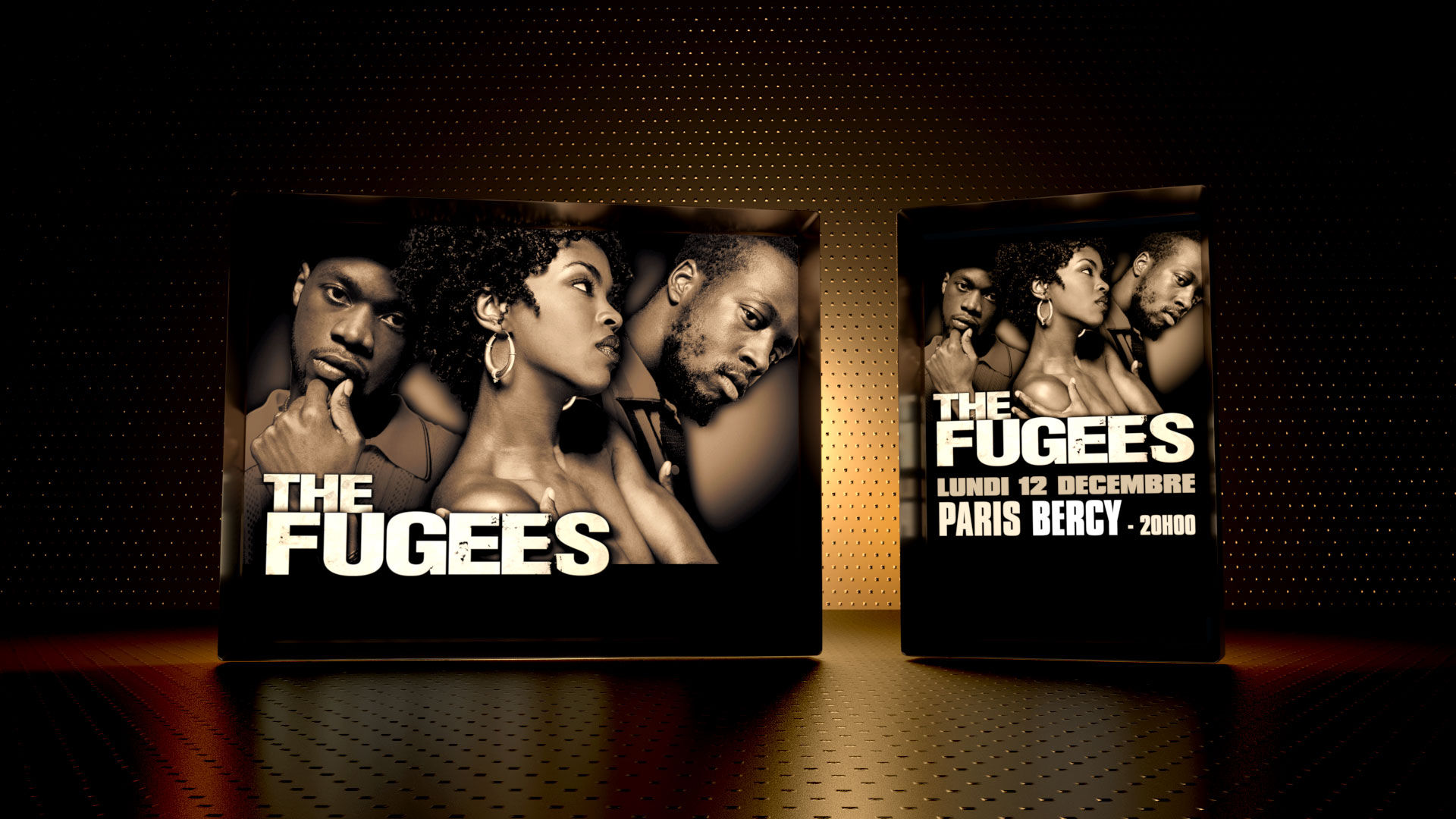 Design of the key visual Poster for the Fugees Live Tour 2005. Worldwide use.