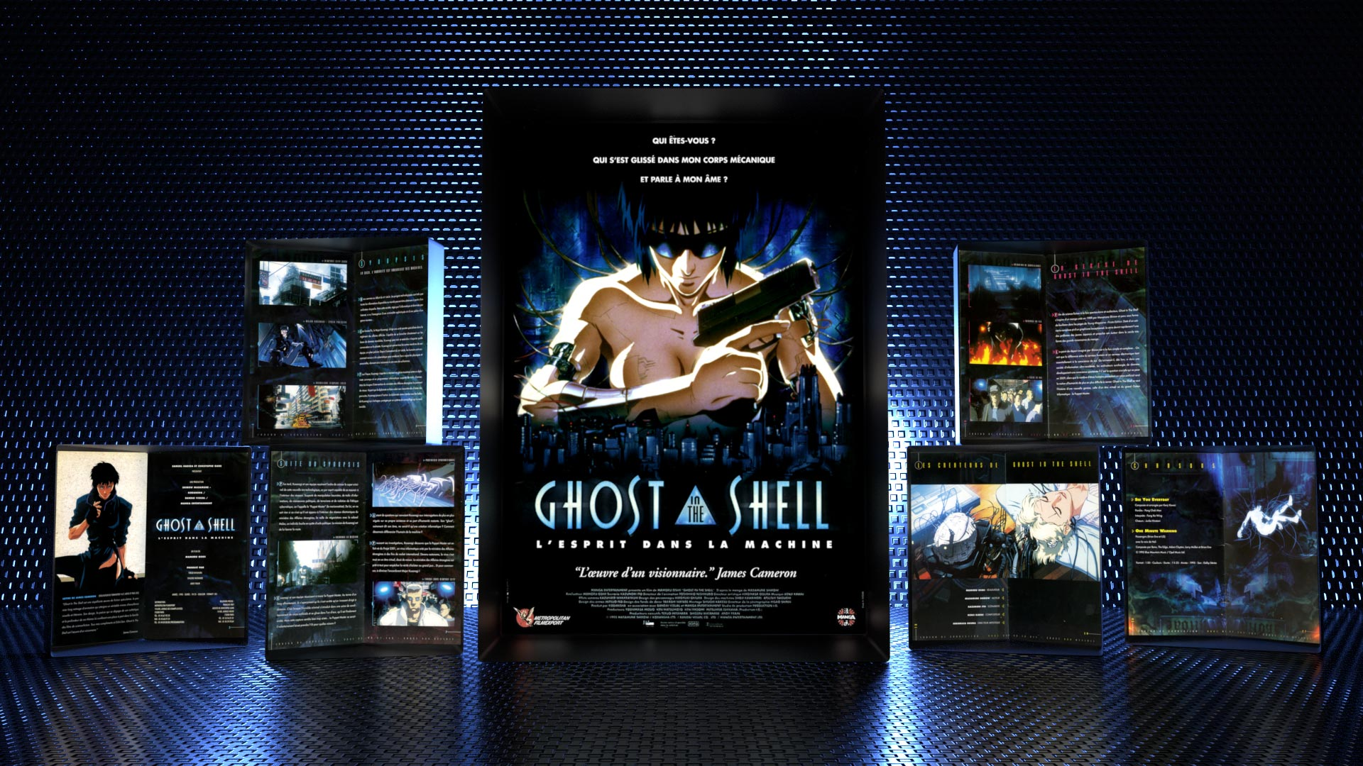 Adaptation of Ghost In The Shell original japanese materials for european marketing of the movie: poster, promotional booklet.