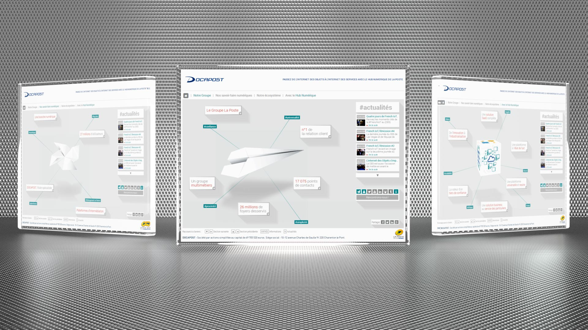 Design and Realisation of a micro b2b website presenting Docapost's Solutions for Managing IoT's datas: le Hub Numerique. Docapost is a Subsidiary Company of french Groupe La Poste. Hub Numérique de la Poste [Archive] (french content) Le Hub Numerique light iPad version [Archive] (english content)