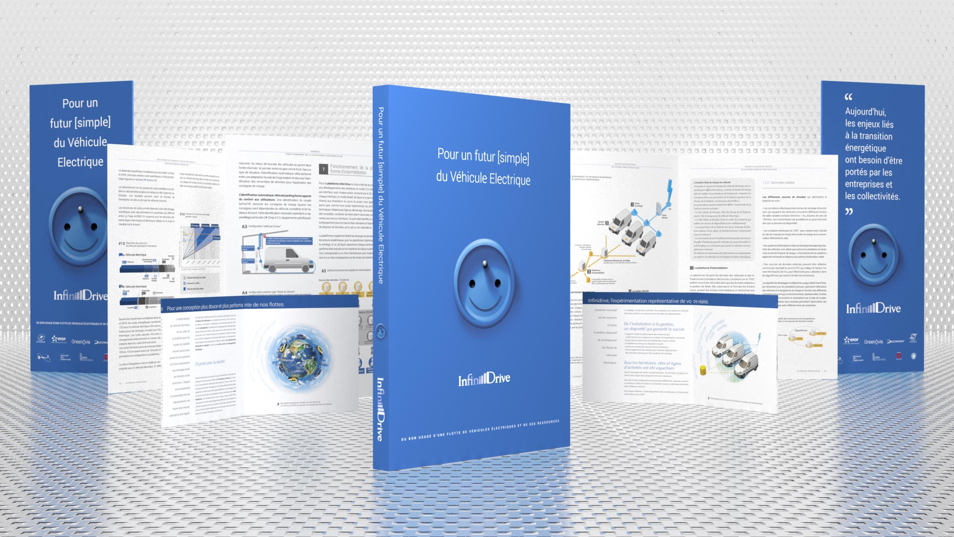Art Direction, Illustrations and Realisation of Ademe's Infinidrive Report, Best Practices for Electric Vehicles. This report provides analysis and synthesis on Electric Vehicles from energy production to integration in corporate fleets.