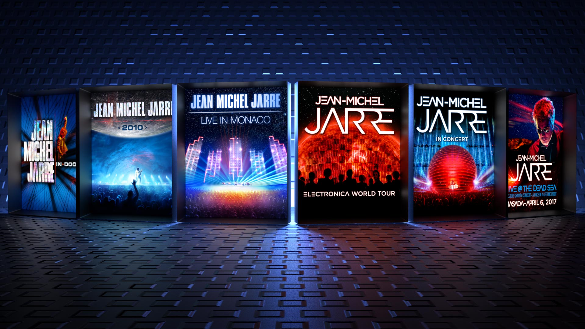 Graphic Design of Jean-Michel Jarre's concerts and tour posters, for worldwide use: In-Doors, 2010, Electronica Tour. Also some special Events: Monaco, Live @ the Dead Sea.