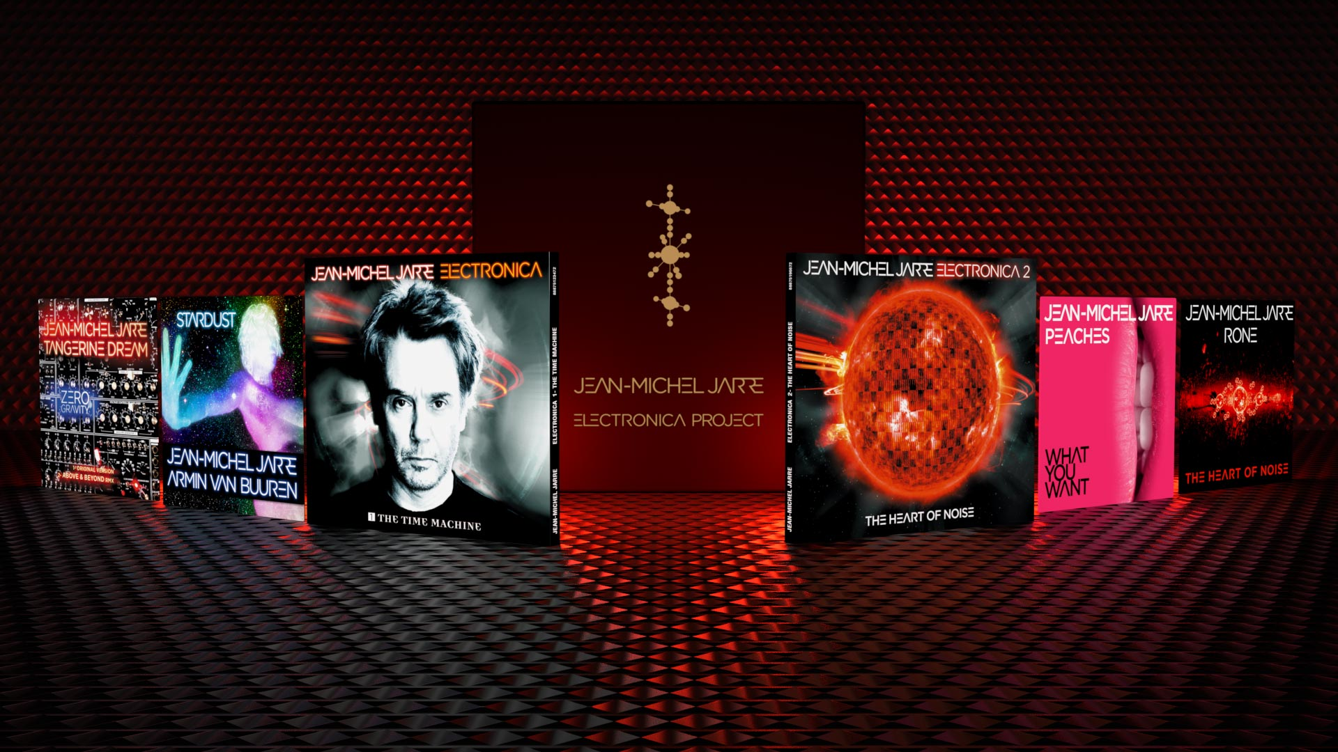 Graphic Design of Jean-Michel Jarre's Electronica Project parts, including The Time Machine and The Heart of Noise albums, Deluxe Boxset, Fanbox, Singles.