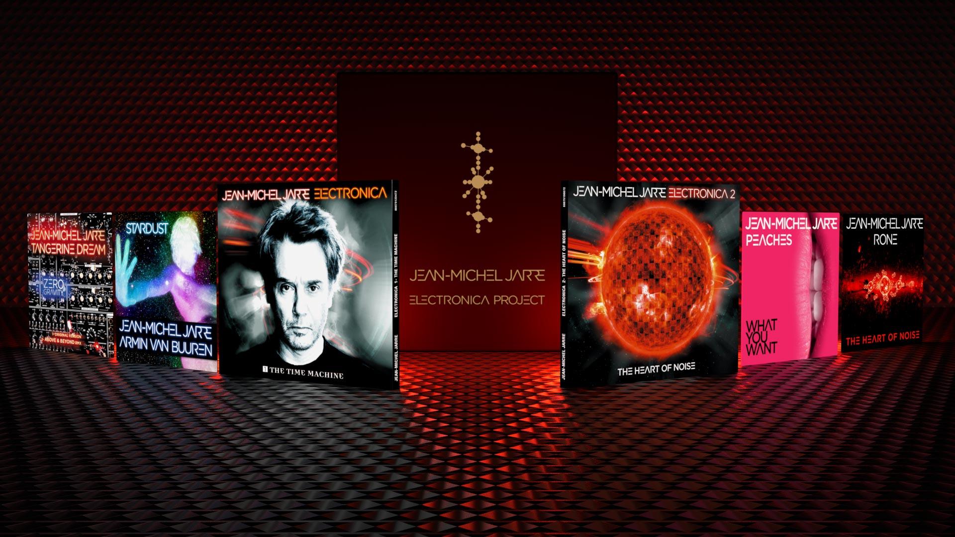 Design Graphique des éléments du Projet Electronica de Jean-Michel Jarre : Albums The Time Machine et The Heart of Noise, Coffret Deluxe, Coffret Fanbox, Singles.