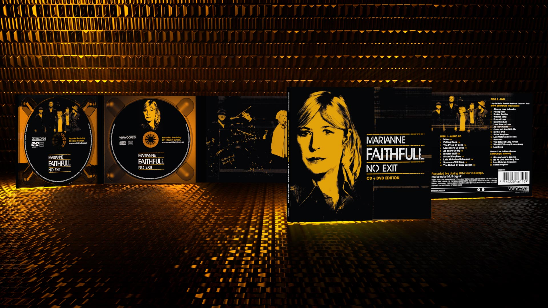 Design of the combo audio+video Live Album of Marianne Faithfull No Exit. Recorded during the 50th Anniversary Tour.