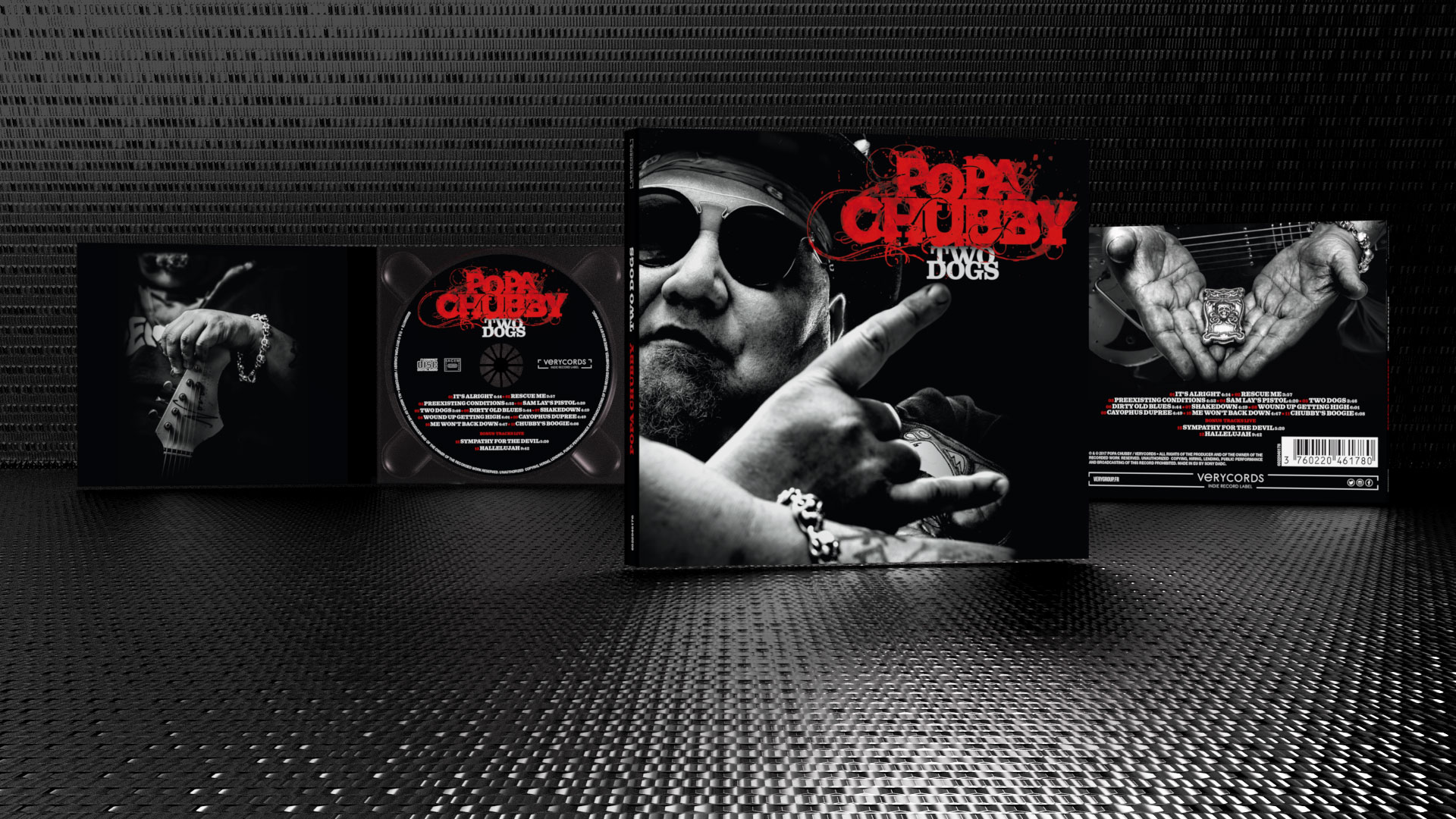 Graphic Design and typography for Popa Chubby's new album: Two Dogs. Cd, Digipack and LP. Photos by Harrison O'Brien.