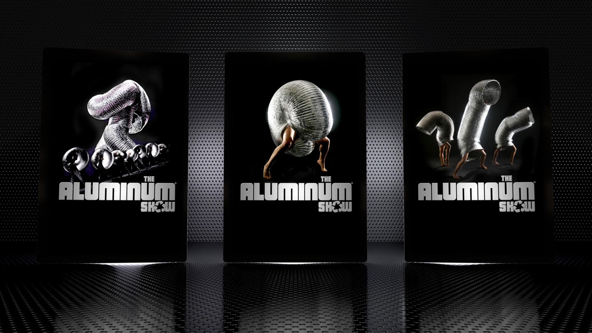 Design de l'affiche principale et du logotype du spectacle the Aluminum Show. Utilisation monde.