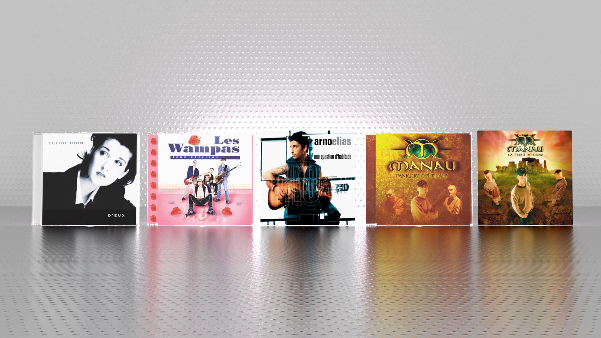 Céline Dion, D'Eux (Columbia, Sony Music via FKGB)Les Wampas, Trop précieux (BMG via FKGB)Arno Elias, une question d'habitude (BMG)Manau, Panique Celtique, La Tribu de Dana (Polydor, Universal Music via FKGB)