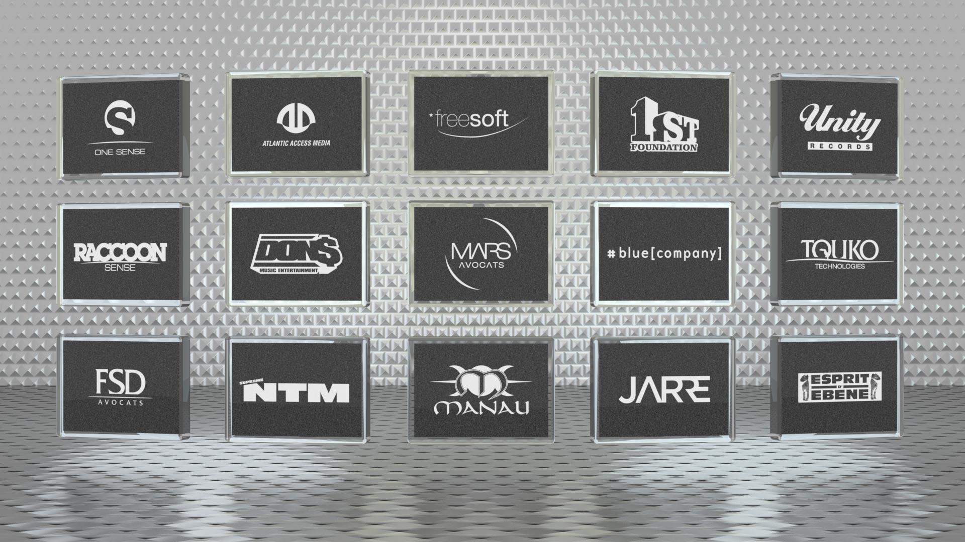 Logotypes pour différents secteurs : Technologies, Artistes, Droit.